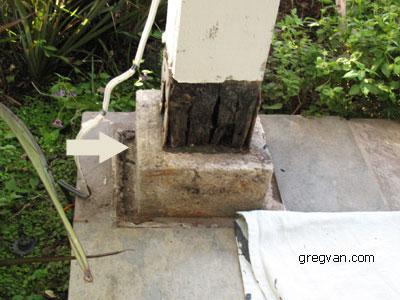 Raised Concrete Wood Post Base